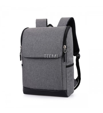 "Flap Zip Closure Solid 15.6"" Laptop Backpack - Grey"