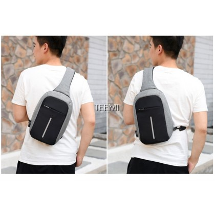 TEEMI Anti-theft Sling Chest Bag Left Right Carry USB Charging Port Tablet Sleeve Two Side Crossbody Bags Handbag Men Water Resistant Travel Shoulder Fashion Bag